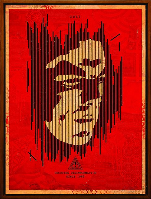 Shepard Fairey (OBEY), 'Decoding Disinformation (Red)', 2015, Underdogs Gallery