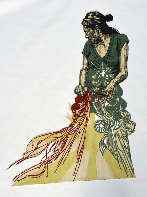 Swoon, 'Zahra', 2007, Mixed Media, Original linocut print on mylar, handpainted with coffe and acrylic, DIGARD AUCTION