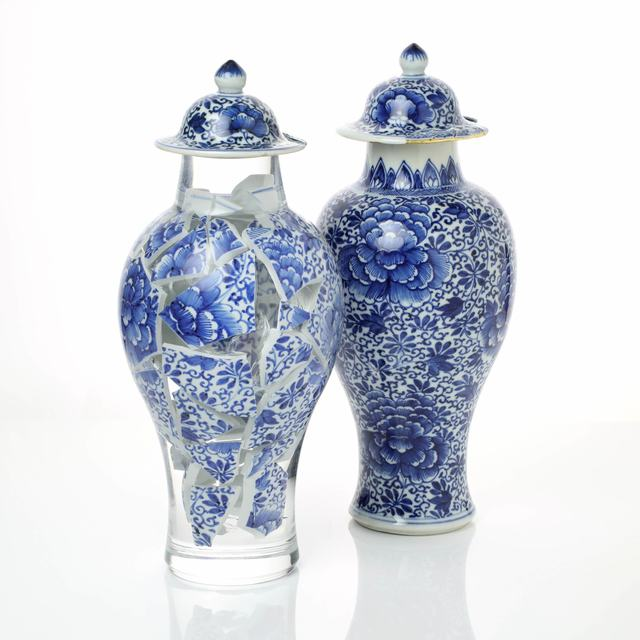 Bouke de Vries, 'A Pair of Memory Vessels LXV', 2020, Sculpture, Contemporary acrylic following the original form of its contents; the collected remains of an 18th century Kangxi Chinese porcelain vase with cover and its pair, Adrian Sassoon