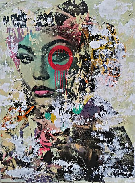 DAIN, 'Lady Gigi', 2018, Painting, Acrylic, spray paint, wheat paste on canvas, Avant Gallery