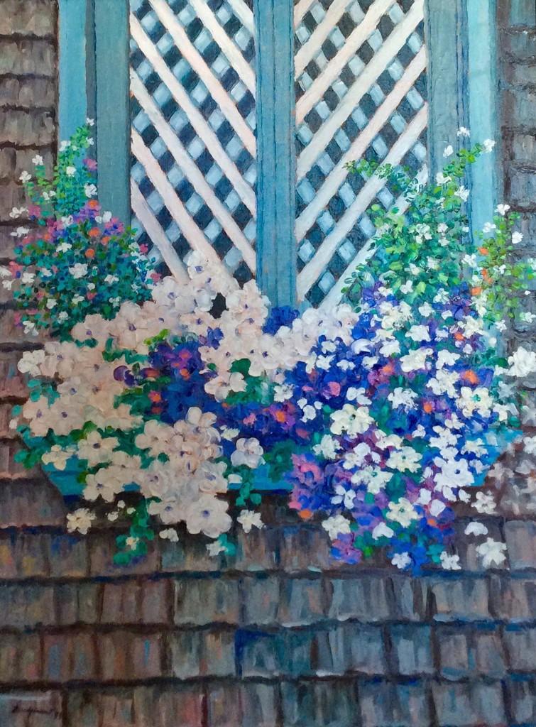 """Les Fleurs Sous Ma Fenetre 36""""x24"""" Oil on Canvas 1999"""