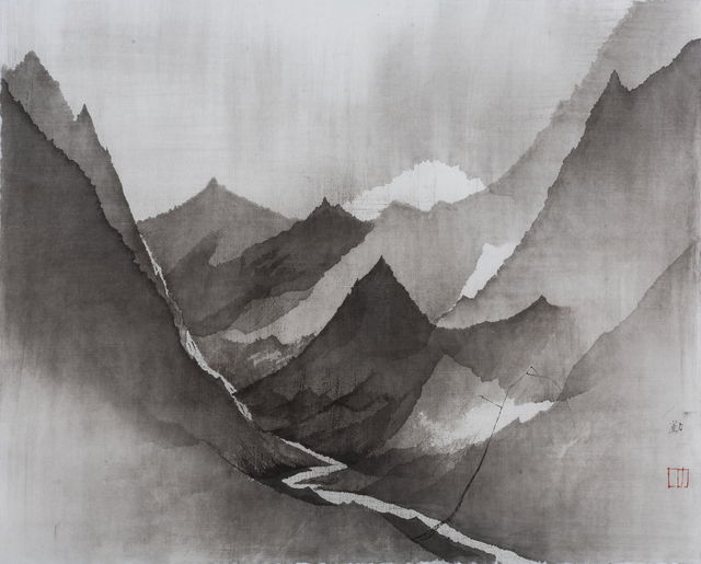 Shen Qin, 'Mountain 20180910-01', 2018, Drawing, Collage or other Work on Paper, Ink on paper, NO 55 ART SPACE