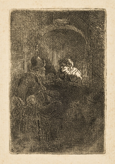Rembrandt van Rijn, 'A Hurdy-Gurdy player followed by children at the door of a house ('The Schoolmaster')', 1641, Print, Etching, Forum Auctions