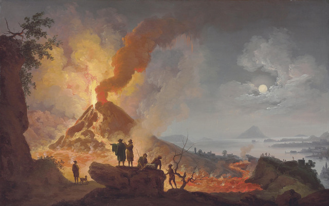 , 'Mount Vesuvius erupting by night seen from the Atrio del Cavallo with spectators in the foreground, a panoramic view of the city and the Bay of Naples beyond,' , Christie's Old Masters