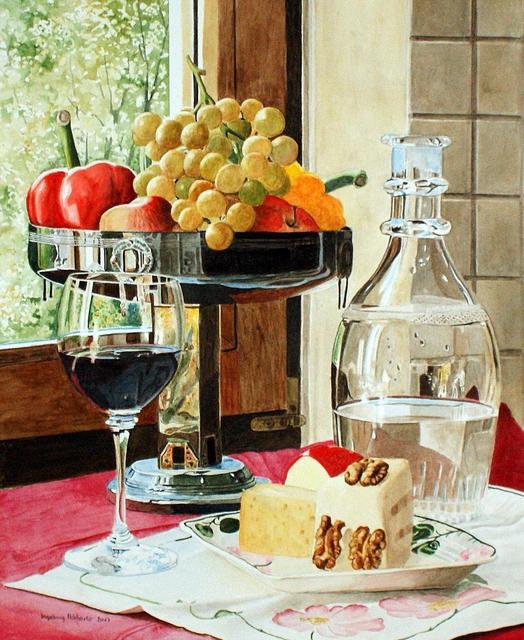 Ingeborg Haeberle, 'Wine & Cheese II ', 2017, Painting, Aquarell on paper framed, the gallery STEINER