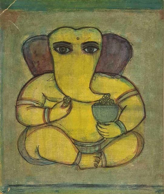 ", 'Ganesha, Water Colour on Paper by Padmashree Modern Artist ""In Stock"",' 1957, Gallery Kolkata"