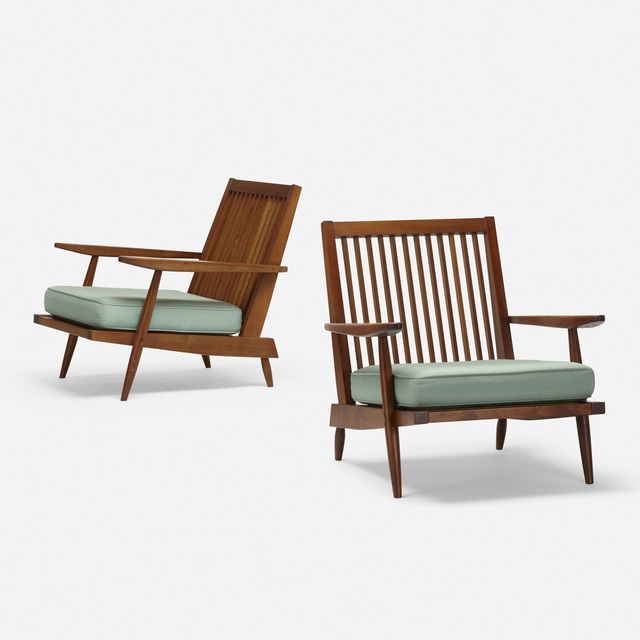 George Nakashima, 'Cushion Chairs with Arms, pair', 1952, Wright