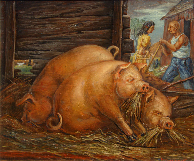 Frederick Hagan, 'Pigs and Chicken', 1946, Bau-Xi Gallery