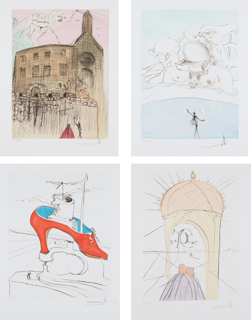 Salvador Dalí, 'After 50 Years of Surrealism', 1974, Print, The complete set of 12 etchings with stencil hand-coloring, on Velin d'Arches paper, with full margins, each contained in a folder with text by André Parinaud, all contained in the original black linen-covered portfolio case, Phillips