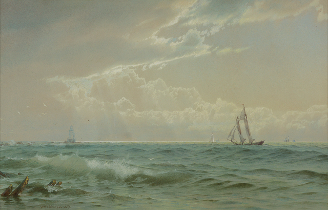 , 'Coastal Scene with Sailboats,' 1875, Questroyal Fine Art