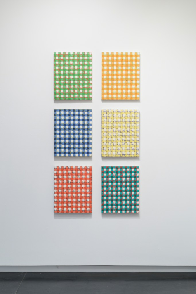 Gingham oil paintings by Michelle Grabner. Photo by Mario Gallucci.
