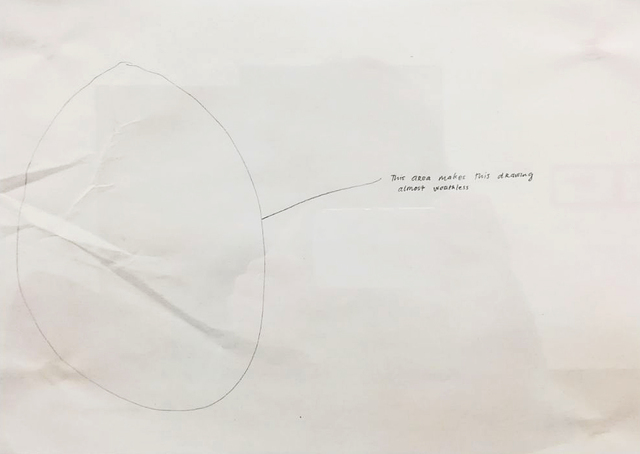 Jonathan Monk, 'THIS AREA MAKES THIS DRAWING ALMOST WORTHLESS', 1996, Drawing, Collage or other Work on Paper, Pencil on creased paper, Giampaolo Abbondio