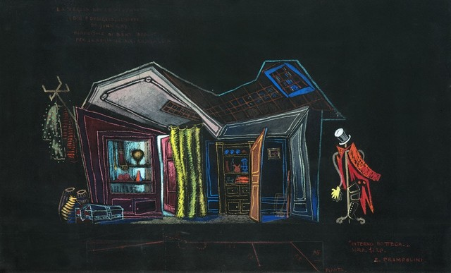 Enrico Prampolini, 'La veglia dei lestofanti, bozzetto di scena', 1949, Mixed Media, Tempera and pastel on black card, Finarte