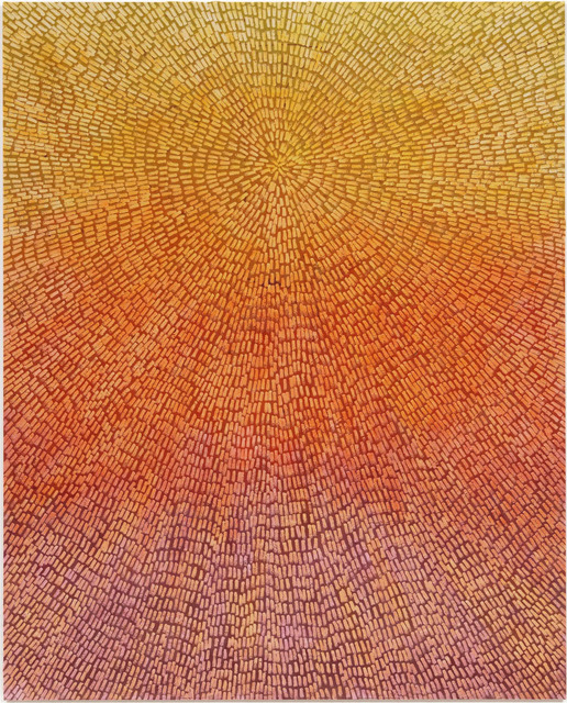 , 'Abundance (Painted Universe Mandala SF #1F, Yellow to Lavender Sunset Gradient, Natural Ground),' 2018, Gagosian