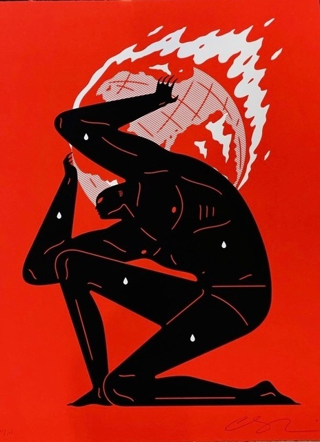 Cleon Peterson, 'World on Fire (Red)', 2020, Print, Hand pulled black and red screen print on 290 gsm Arches Rag paper with deckled edges. Artwork, Artsy x Forum Auctions