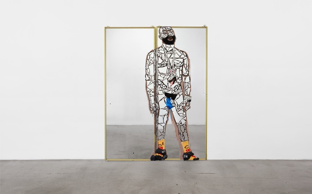 Aaron Fowler, 'Blue', 2019, Mixed Media, Acrylic paint, India ink, liquid nail, resin, clay, broken mirror, afro wig, cloth, golf balls, plastic sack, parachute straps, water bottle and socks on mirrored closet doors, M+B