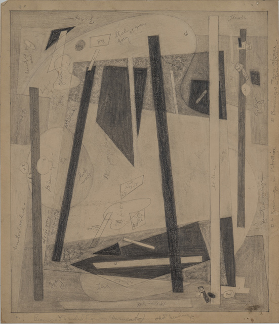 """, 'Drawing for """"Bearings in Transition"""" Series,' ca. 1947, Washburn Gallery"""