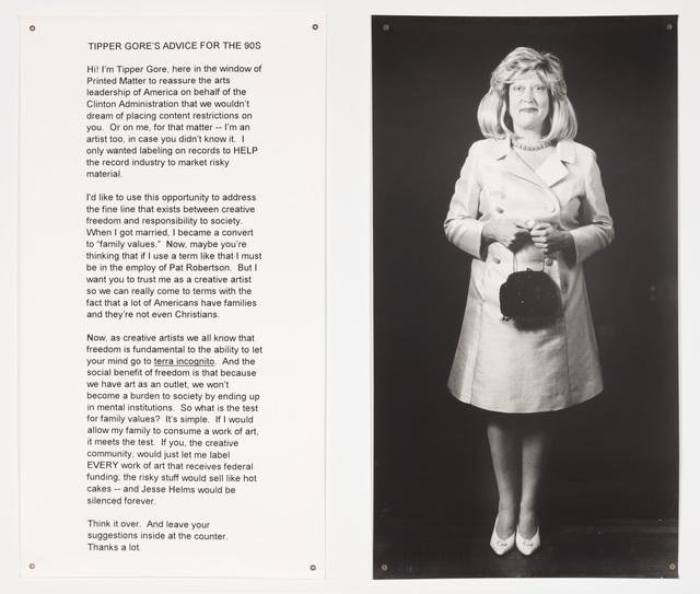 Martha Wilson, 'Tipper Gore's Advice for the 90s', 1994, P.P.O.W
