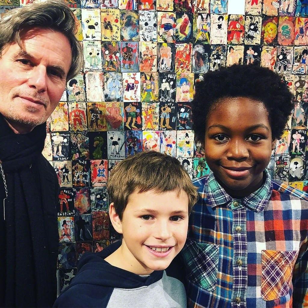 Artist Richard Kurtz with young art lovers • Esperanza Projects Booth 18 • New York Outsider Art Fair 2019