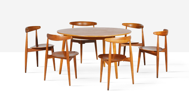 Hans J. Wegner, 'Heart dining chairs, set of six and dining table', 1952, Aguttes