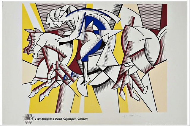 "Roy Lichtenstein, '""The Red Horseman""also titled ""The Equestrians"" for the 1984 Los Angeles Olympia Games', 1982, Print, Limited Run, Signed Original Period Poster, David Lawrence Gallery"