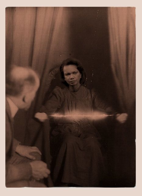 , 'Ectoplasm Phenomena of materialisation with Condolezza Rice, Paris, May 2nd 1913,' 2013, Galerie Laurence Bernard