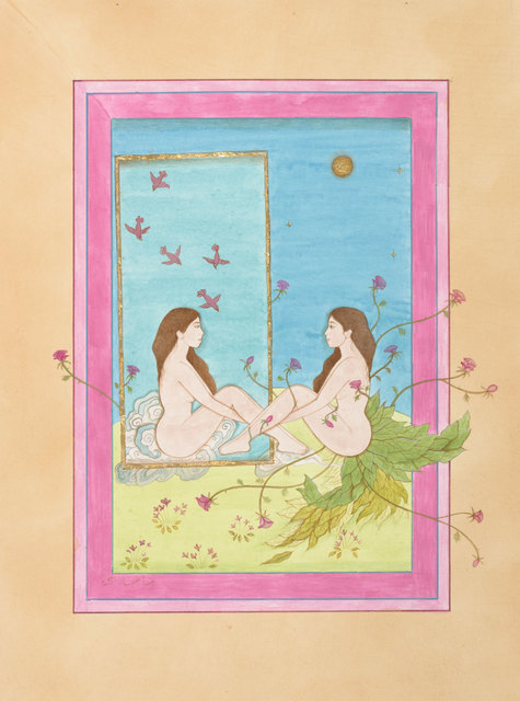 Hiba Schahbaz, 'Self Reflection', 2020, Painting, Watercolor, gouache, tea and gold leaf on wasli, De Buck Gallery