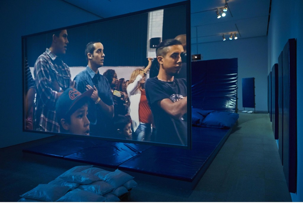 "Installation view of ""Hito Steyerl: Duty-Free Art"" at Museo Nacional Centro de Arte Reina Sofia. November 2015. Photograph: Joaquìn Cortés/Román Lores."
