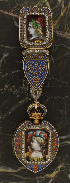 , 'Swiss Renaissance Revival Pendant Watch with Chatelaine, Limoges Style Enamel,' ca. 1870, Somlo London
