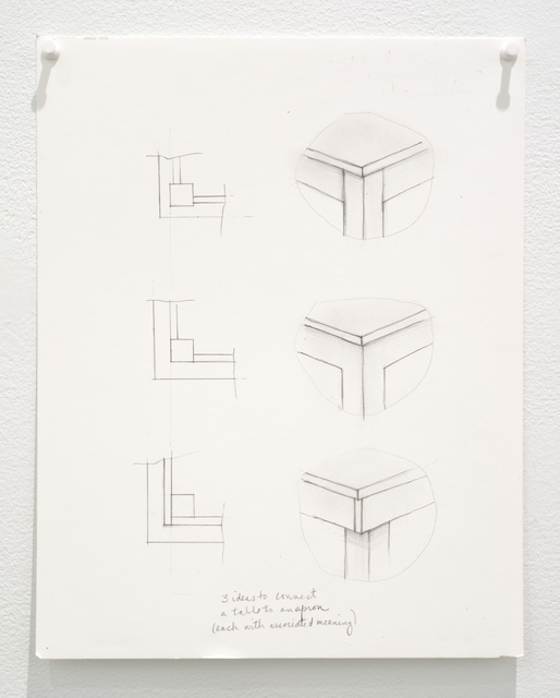 Roy McMakin, 'Untitled (3 ideas to connect a table to an apron)', 2015, Lora Reynolds Gallery