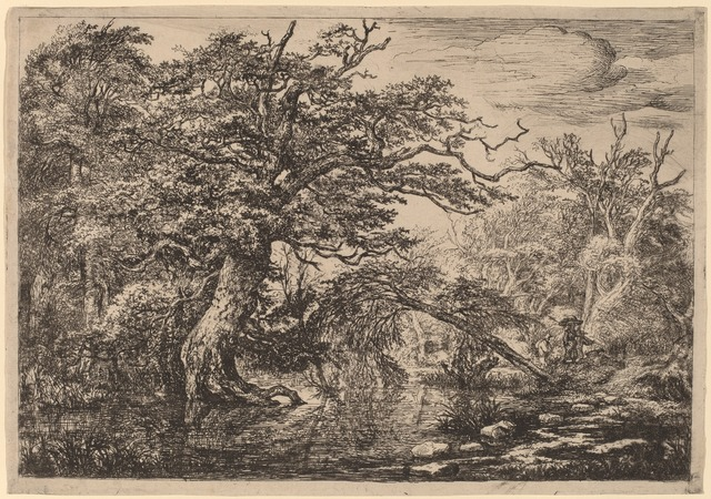 Jacob van Ruisdael, 'A Forest Marsh with Travelers on a Bank (The Travelers)', National Gallery of Art, Washington, D.C.
