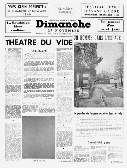 """Yves Klein, 'Dimanche 27 novembre 1960 """"Le journal d'un seul jour""""', 1960, Drawing, Collage or other Work on Paper, Newsprint, Gagosian"""