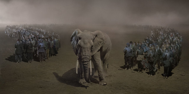 , 'River of People with Elephant at Night,' 2018, Fahey/Klein Gallery
