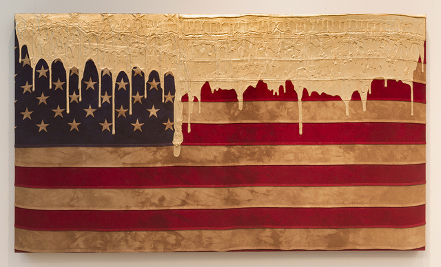 , 'Weathered Flag (Gold Drip),' 2016, Joshua Liner Gallery