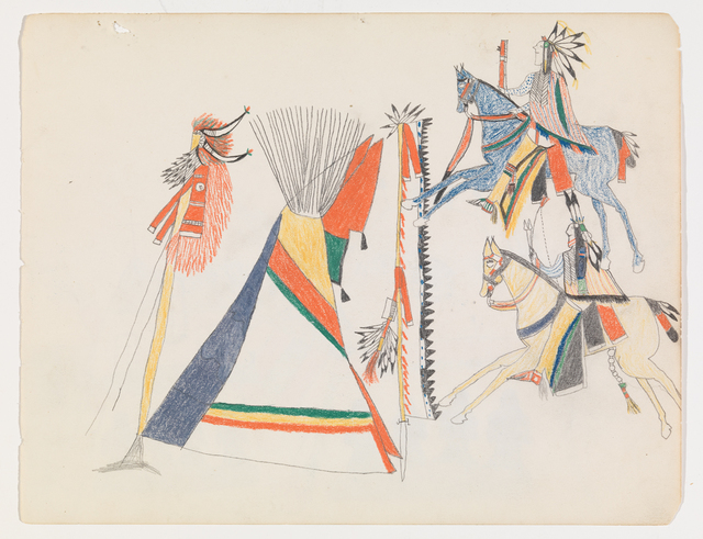 , 'Ledger Drawing, attributed to Bears Heart, Cheyenne,' ca. 1875, Donald Ellis Gallery