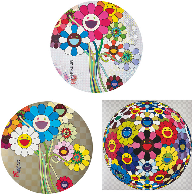 Takashi Murakami, 'Flower Ball (Kindergarten Days); Flowers for Algernon; and Even The Digital Realm Has Flowers To Offer!', 2002; 2009; and 2010, Phillips