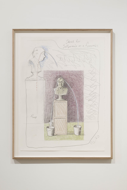 Peter Land, 'Sketch for Selfportrait as a Fountain', 2020, Drawing, Collage or other Work on Paper, Colour pencil on paper, KETELEER GALLERY