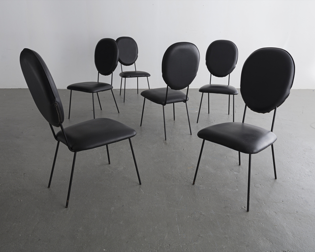 Joaquim Tenreiro, 'Set of six (6) chairs with black upholstered seats and backs and black wrought iron legs', 1958, R & Company