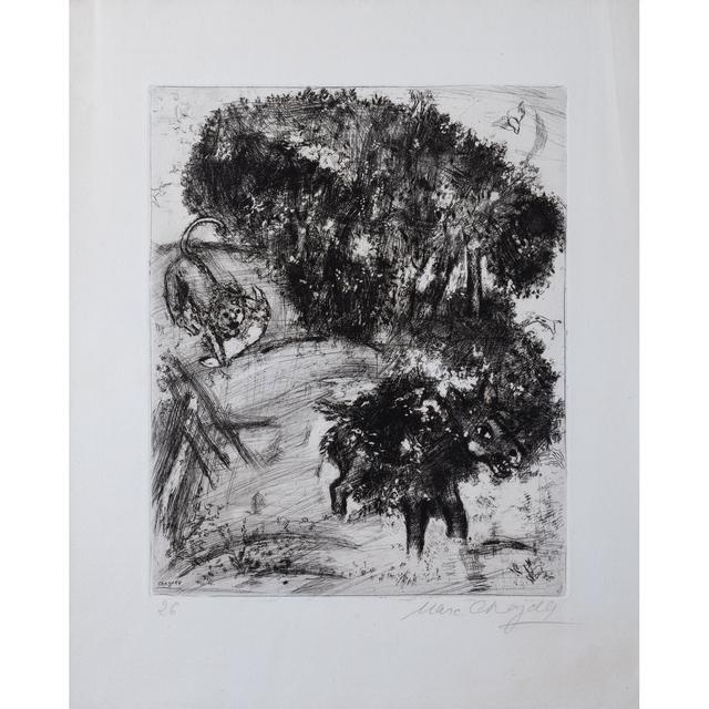 """Marc Chagall, 'Le lion et l'âne chassant, planche 26 issue de l'album """"Les fables de Jean de la Fontaine""""', 1952, PIASA"""