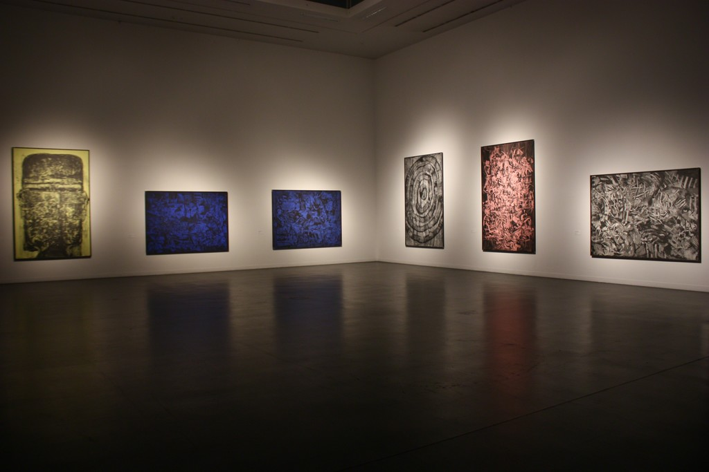 Fragment of the exhibition with large scale graphite paintings. Photography by Povilas Ramanauskas.
