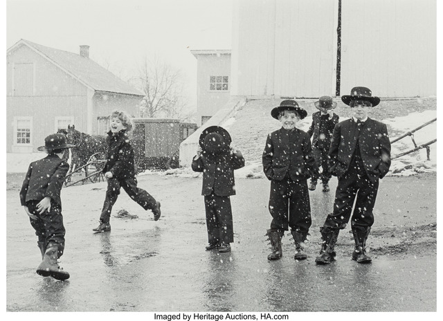 George Tice, 'Amish Children Playing in Snow, Lancaster, PA', 1969, Heritage Auctions