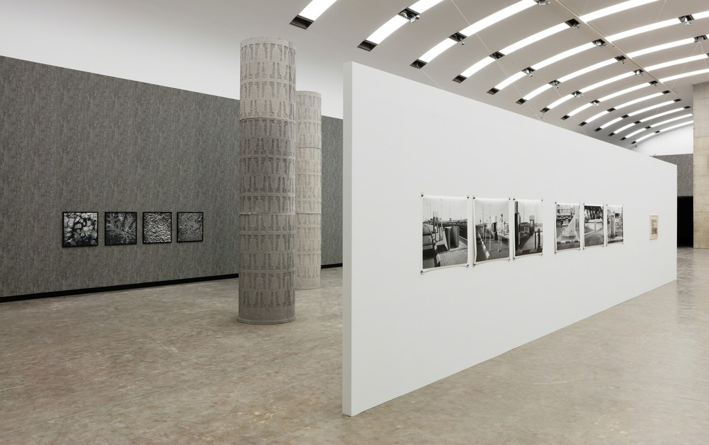 Installation view: Béton, Kunsthalle Wien 2016, Photo: Stephan Wyckoff: Jumana Manna, Government Quarter Study, 2014, KOR Public Art Norway; Mark Boyle, Secretions: Blood, Sweat, Piss and Tears, 1978, Henie Onstad Collection, Hovikodden, Norway; Miki Kratsman, Public Shelter, Acre, 2006; Public Shelter, Tel Aviv, 2016; Checkpoint, Road 443, 2014; Public Shelter, Tel Aviv, 2007, Courtesy the artist and Chelouche Gallery, Tel Aviv