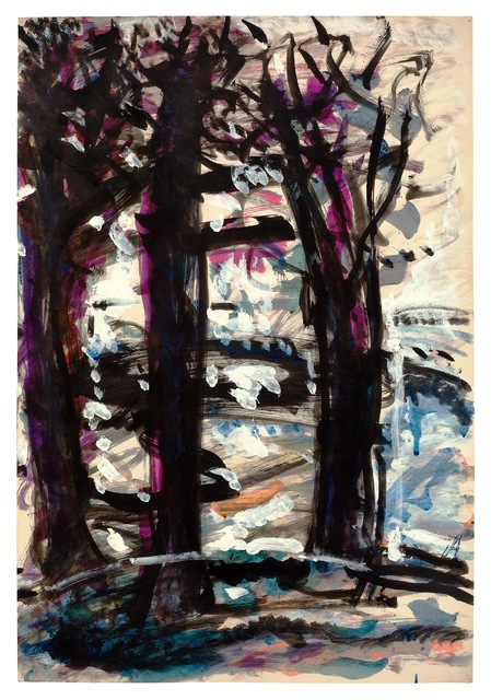 Fritz Ascher, 'Three Trees', undated, Drawing, Collage or other Work on Paper, White gouache and black ink over  watercolor on paper, New York Studio School