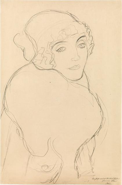 "Gustav Klimt, 'Study for the Portrait ""Der Pelzkragen""', ca. 1916, W&K - Wienerroither & Kohlbacher"