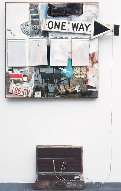 Robert Rauschenberg, 'Black Market', 1961, Combine: oil, watercolor, pencil, paper, fabric, newspaper, printed paper, printed reproductions, wood, metal, tin, and four metal clipboards on canvas with rope, rubber stamp, ink pad, and various objects in wood valise randomly given and taken by viewers, Robert Rauschenberg Foundation