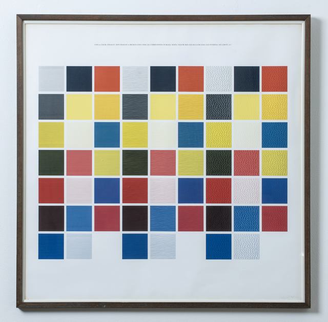 , 'Lines and color, straight, not-straight and broken lines using combinations of black, white, yellow, red and blue for lines and intervals,' 1977, Wexler Gallery
