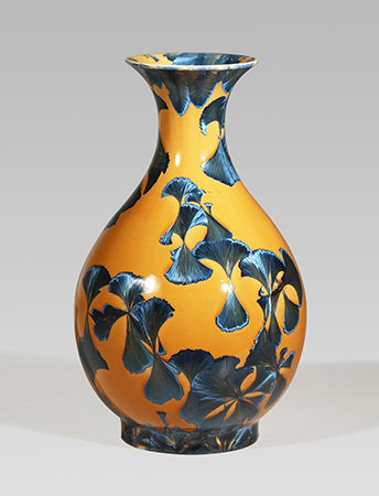 , 'Pear-shaped vase with flared lip, splash peacock blue glaze,' 2017, Pucker Gallery