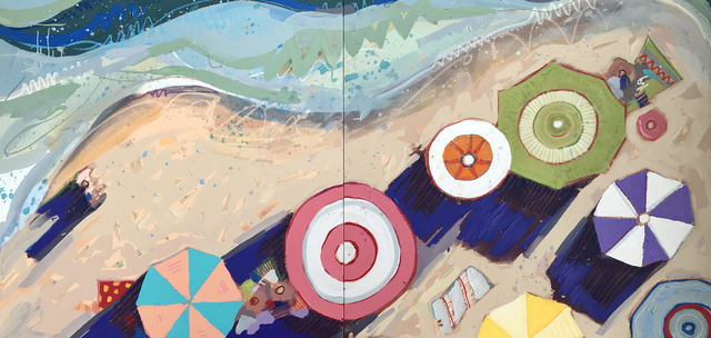 "Tim Jaeger, '""Labor Day in Lido Beach no. 10 (Diptych)"" Oil painting of aerial view of colorful umbrellas on a beach', 2019, Eisenhauer Gallery"