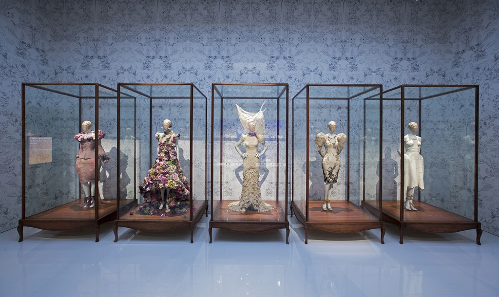 Installation view of 'Romantic Naturalism' gallery. Alexander McQueen: Savage Beauty, at the Victoria and Albert Museum, London,  2015