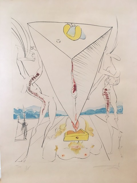 Salvador Dalí, 'Philosopher crushed by the cosmos', 1974, Drawing, Collage or other Work on Paper, Original engraving + color, Dali Paris